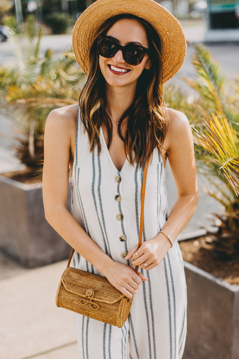 livvyland-blog-olivia-watson-austin-texas-fashion-lifestyle-style-blogger-urban-outfitters-striped-jumpsuit-outfit-rattan-handbag-2