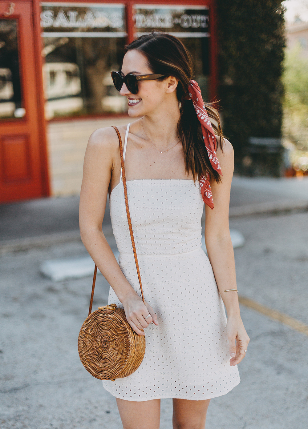 livvyland-blog-olivia-watson-urban-outfitters-eyelet-open-back-dress-madewell-hair-bandana-scarf-spring-date-outfit-2