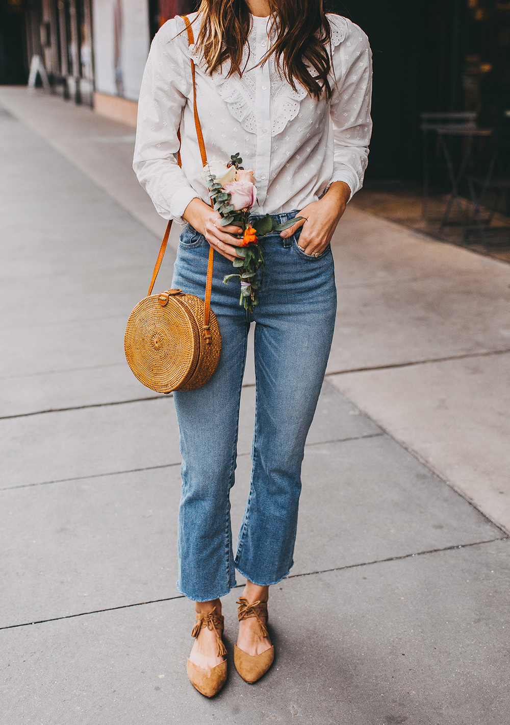 livvyland-blog-olivia-watson-austin-texas-fashion-style-blogger-sezane-white-eyelet-blouse-kick-flare-jeans-simple-spring-outfit-2