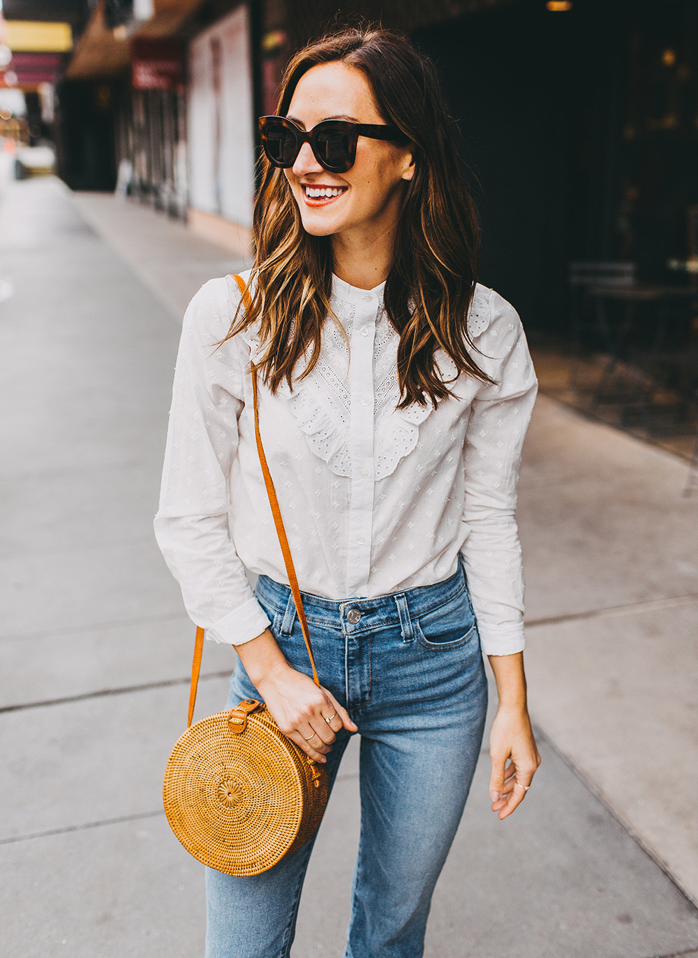 livvyland-blog-olivia-watson-austin-texas-fashion-style-blogger-sezane-white-eyelet-blouse-kick-flare-jeans-simple-spring-outfit-8