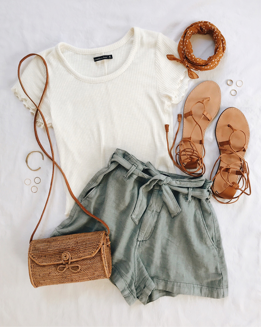 livvyland-blog-flatlay-front-tie-high-rise-waist-shorts-cute-easy-summer-outfit-straw-handbag