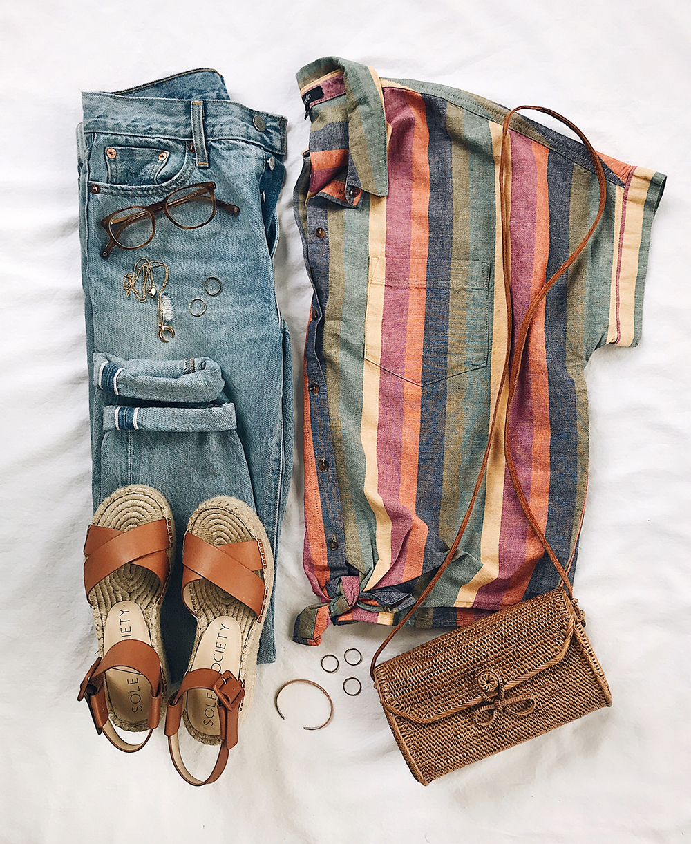 livvyland-blog-flatlay-outfit-idea-madewell-courier-shirt-rainbow-stripes-fun-summer-spring-outfit-idea-platform-espadrilles