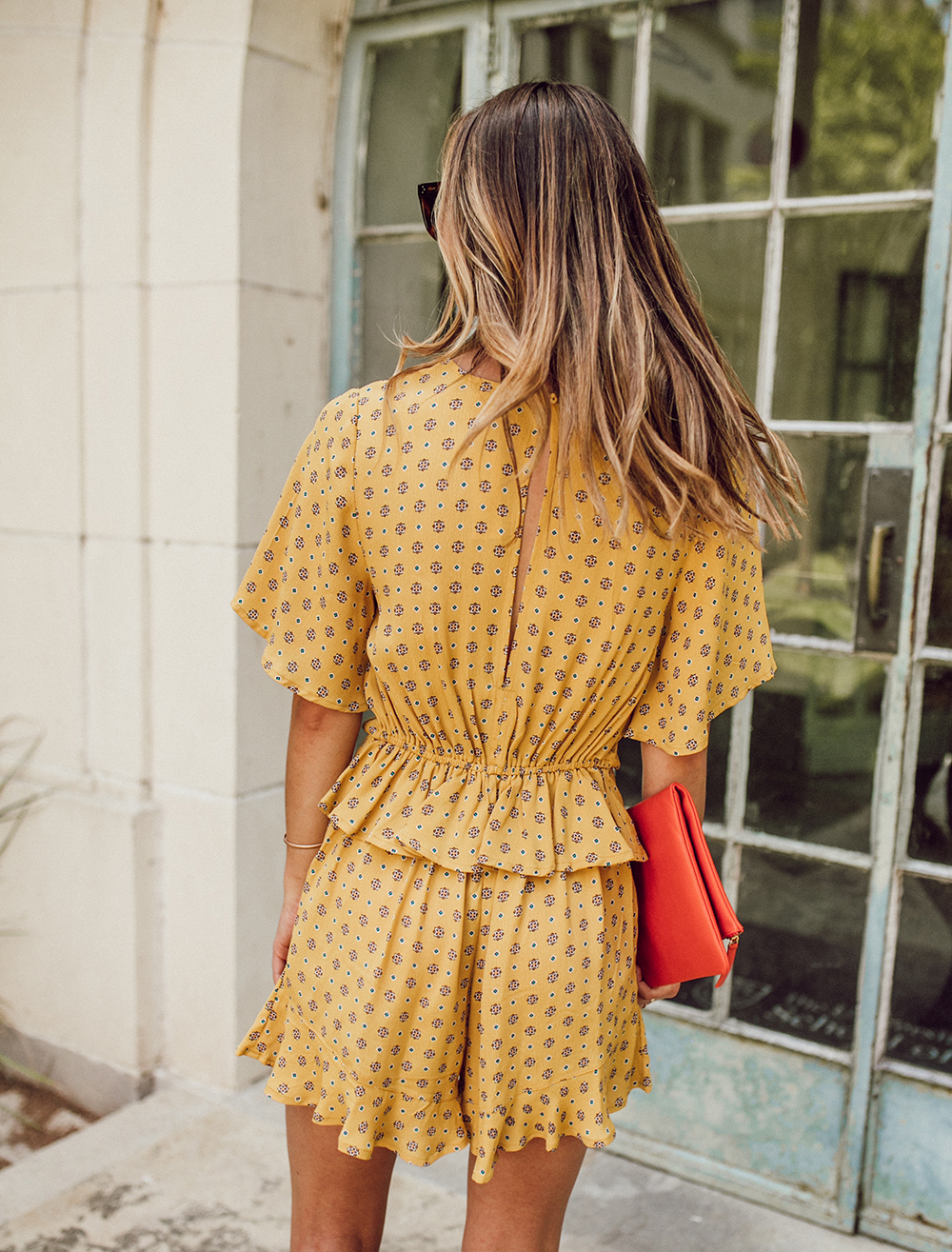livvyland-blog-olivia-watson-austin-texas-fashion-lifestyle-blogger-river-island-floral-print-yellow-knot-front-romper-summer-occasion-outfit-idea-1