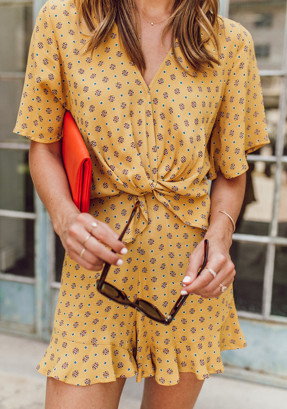 livvyland-blog-olivia-watson-austin-texas-fashion-lifestyle-blogger-river-island-floral-print-yellow-knot-front-romper-summer-occasion-outfit-idea-2