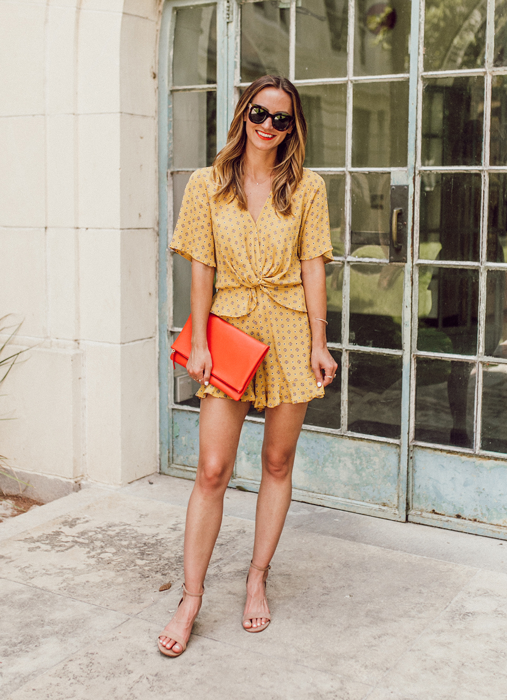 livvyland-blog-olivia-watson-austin-texas-fashion-lifestyle-blogger-river-island-floral-print-yellow-knot-front-romper-summer-occasion-outfit-idea-4