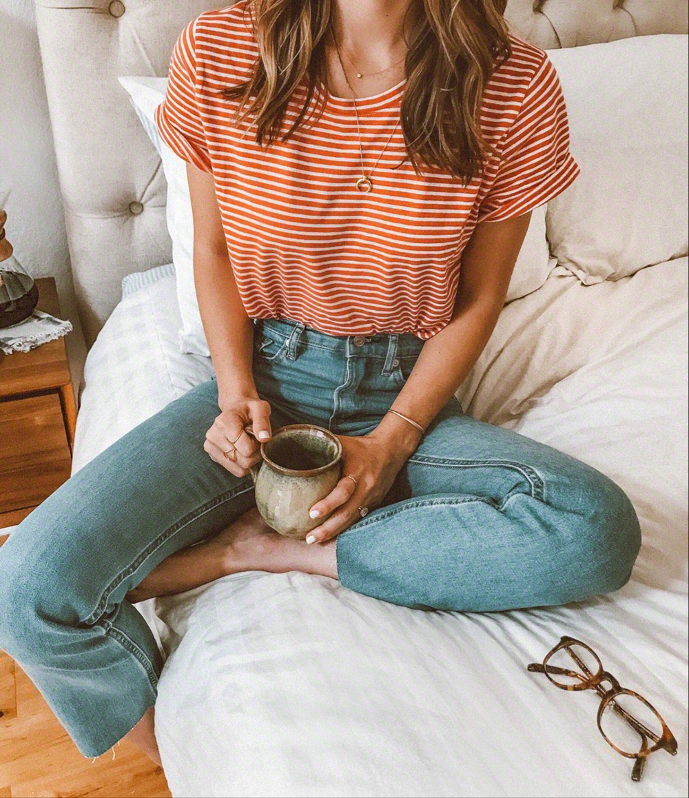livvyland-blog-olivia-watson-cozy-coffee-bed-everlane-kick-flare-jeans-denim-red-white-striped-tee-shirt