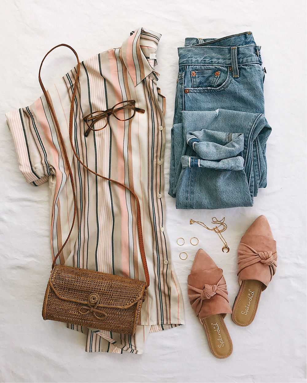 livvyland-blog-olivia-watson-flat-lay-madewell-courier-button-up-short-sleeve-top-blush-pink-slip-on-mules-slides