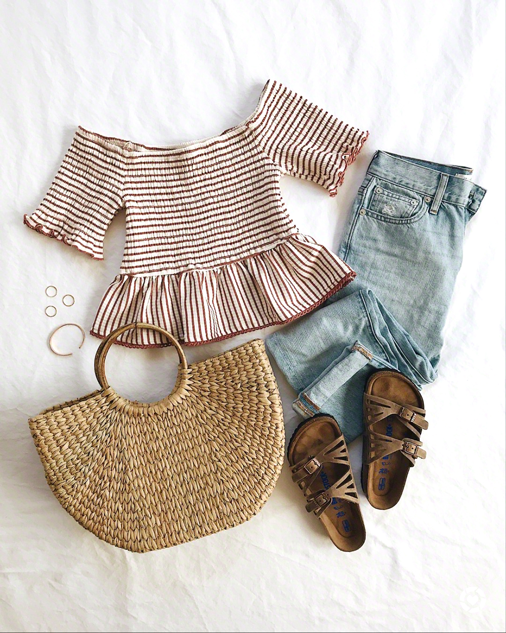 livvyland-blog-olivia-watson-flat-lay-summer-outfit-idea-inspiration-birkenstocks-granada-sandals-half-moon-straw-bag-outfit