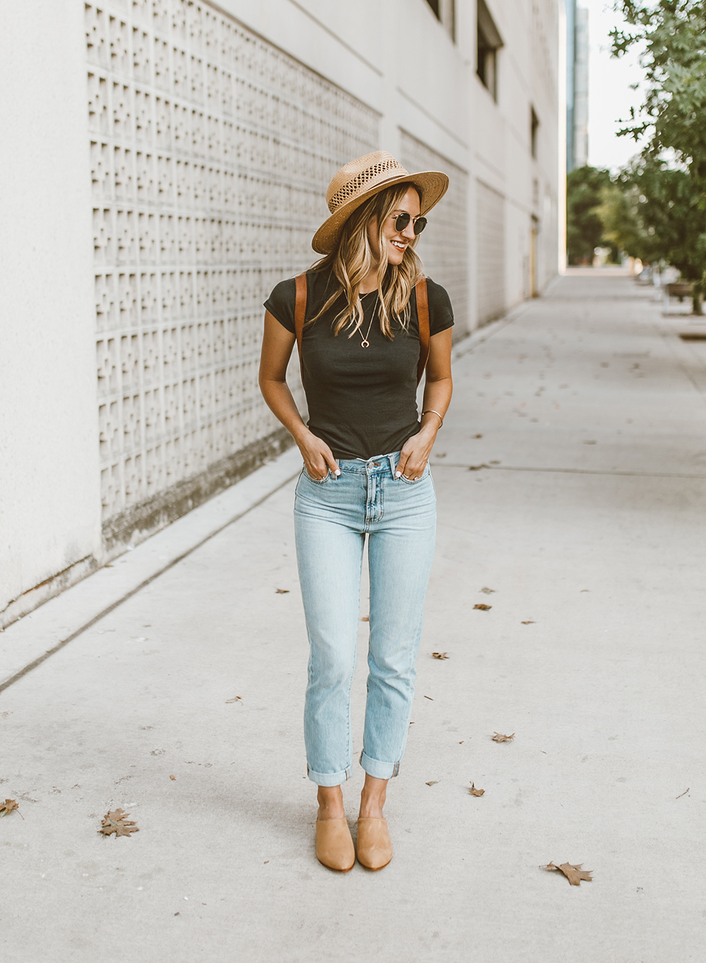 livvyland-blog-olivia-watson-austin-texas-fashion-style-blog-nisolo-tan-suede-mules-mariella-tee-jeans-outfit-4