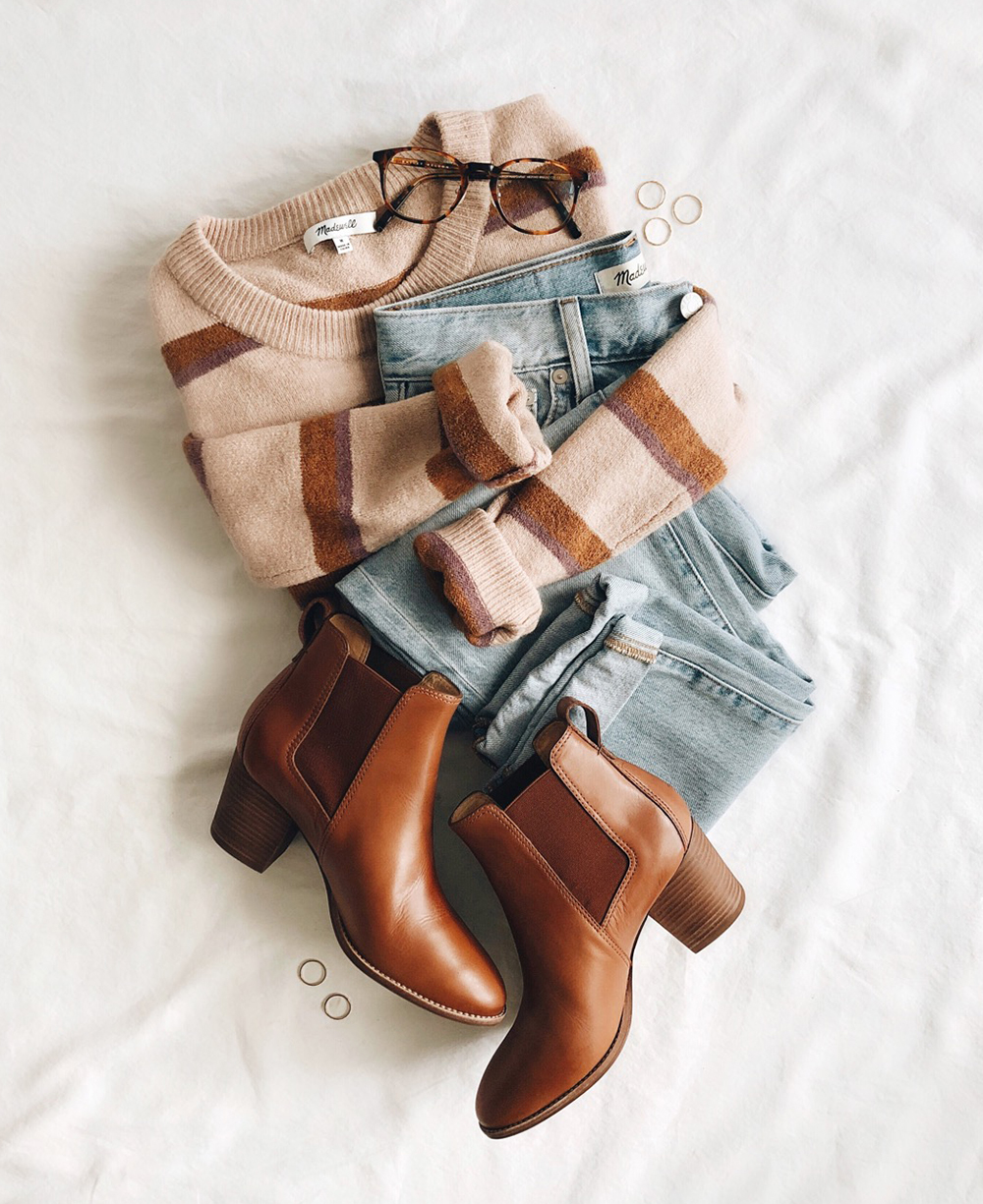 livvyland-blog-olivia-watson-best-cyber-monday-sales-madewell-raglan-boots-striped-sweater-outfit