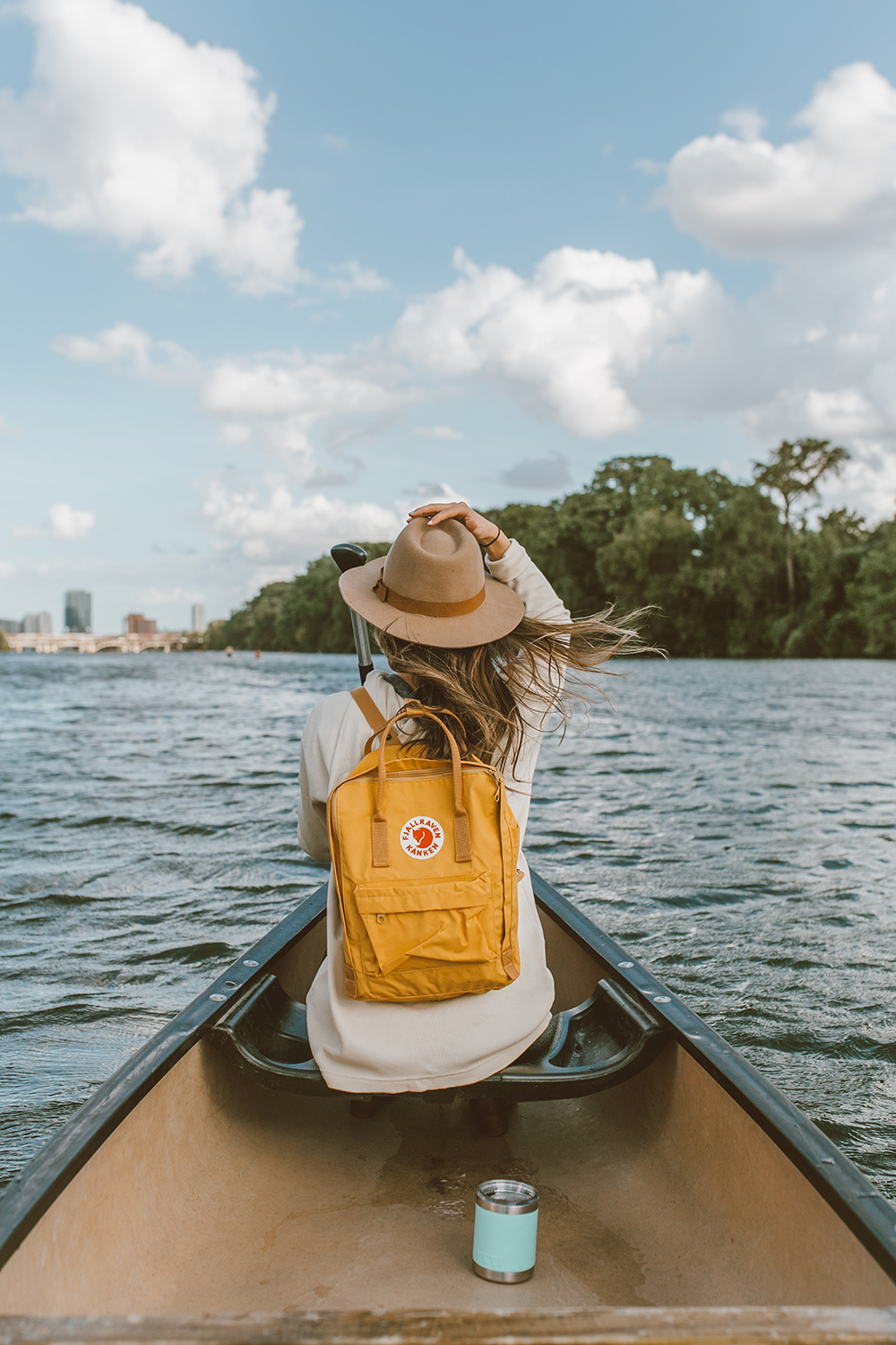 livvyland-blog-olivia-watson-canoe-lady-bird-lake-austin-texas-lifestyle-fashion-blogger-backcountry-fjallraven-kanken-ochre-mustard-yellow-backpack-yeti-rambler-3