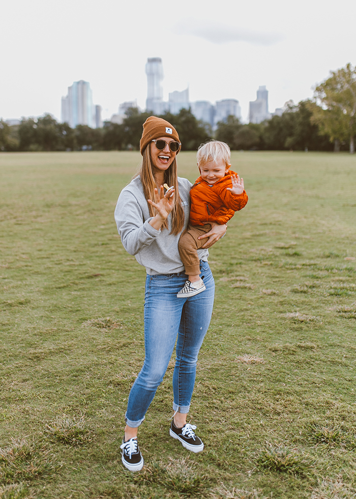 livvyland-blog-olivia-watson-austin-texas-zilker-park-fall-lifestyle-blogger-fashion-toddler-patagonia-puffer-jacket-red-2