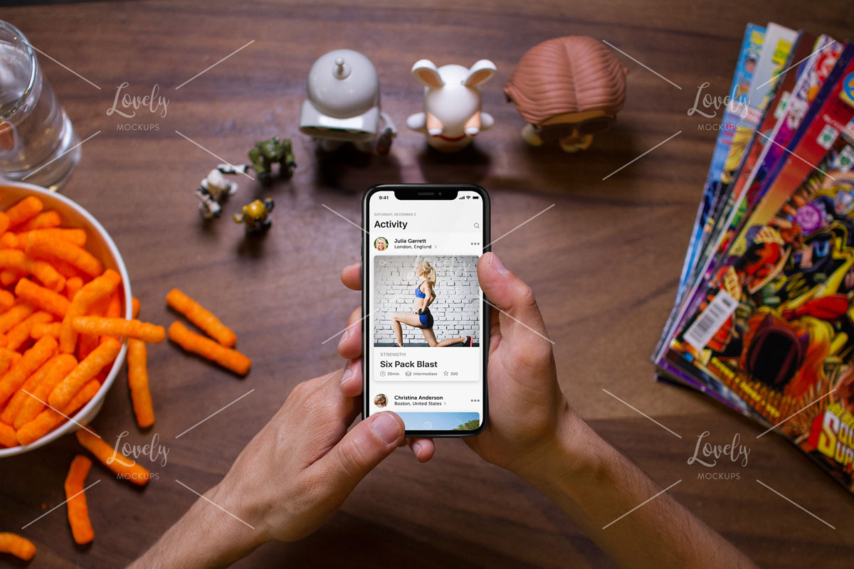 Man Gaming With Iphone X Mockup While On His Table Lovely Mockups