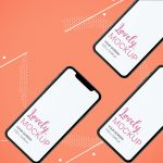 Mockup of three iPhone and an Abstract Background Featured