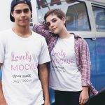 Couple With Round Neck Tees Mockup Against a Van Featured