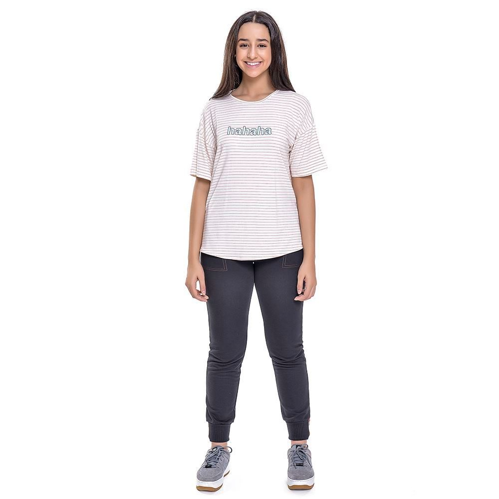 Camiseta Teen Listrada Com Estampa