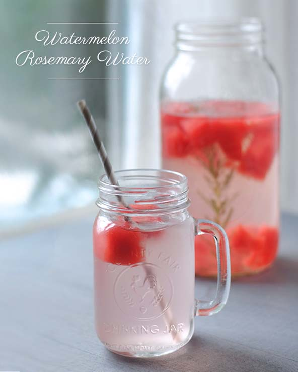 watermelon rosemary water recipe, naturally flavored water recipes