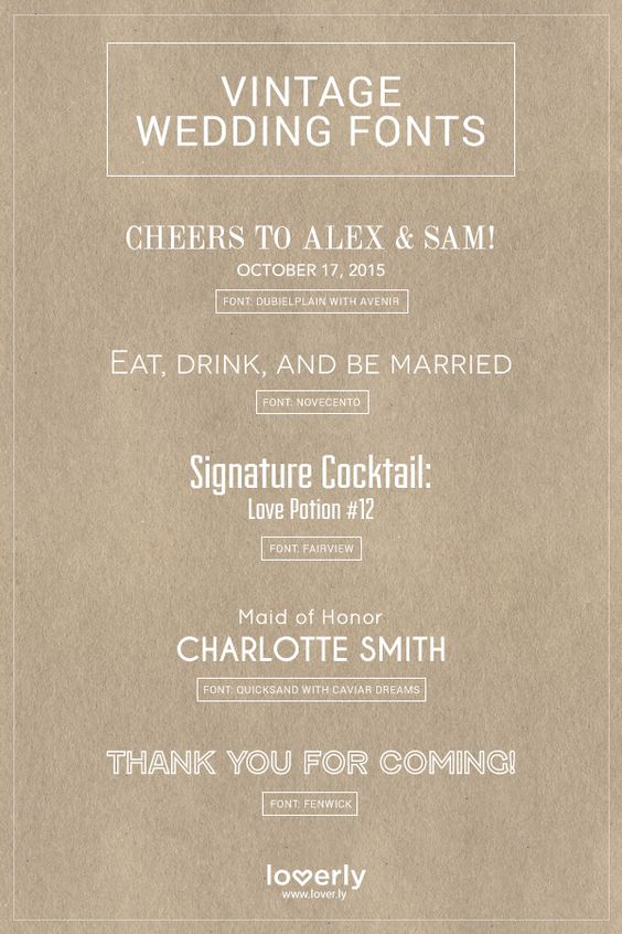 20 Fabulous Wedding Fonts For Every Wedding Style | Loverly