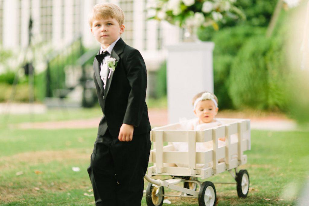 summer wedding essentials, ring bearer wagon