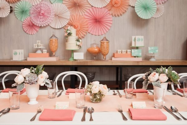 inspired by this peach pink and mint bridal shower wedding shower on the