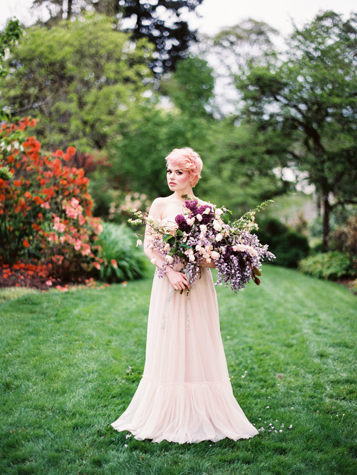 pink-hair-bride-blush-bhldn-dress-bush-gardens-conservatory-1, brides with pastel hair