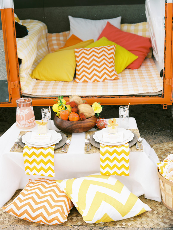 bacarat resort real wedding, yellow chevron wedding details, Real Wedding