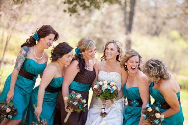 Brown and Turquoise Wedding Dresses
