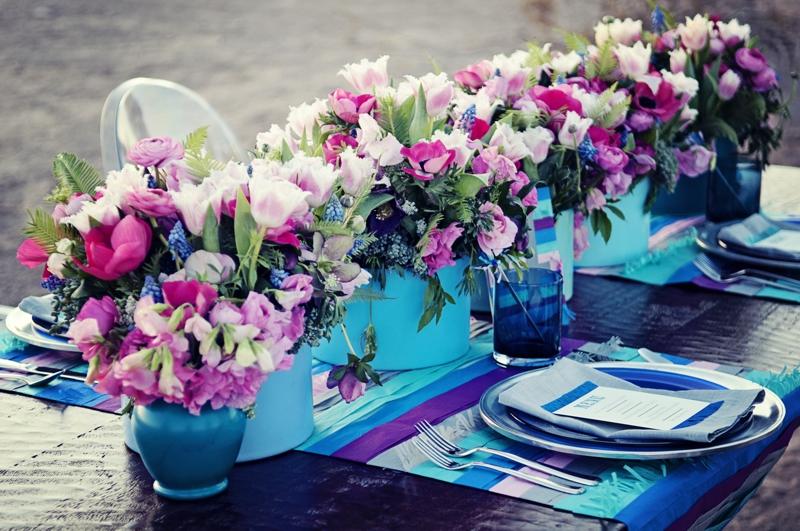 Wedding Detail Inspiration Modern Cobalt Blue Plum
