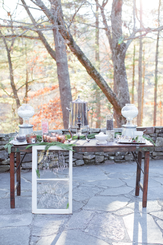 Winter Wonderland Wedding Inspiration , Hot Cocoa Bar,