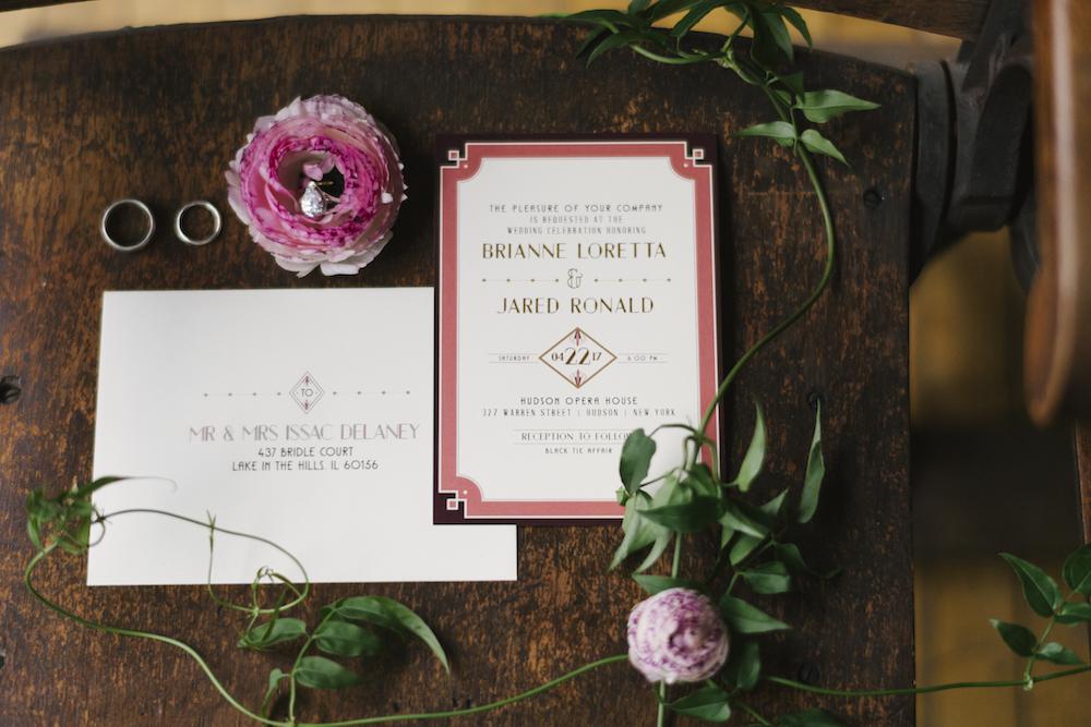 historic Hudson Opera House wedding, wedding stationery romantic