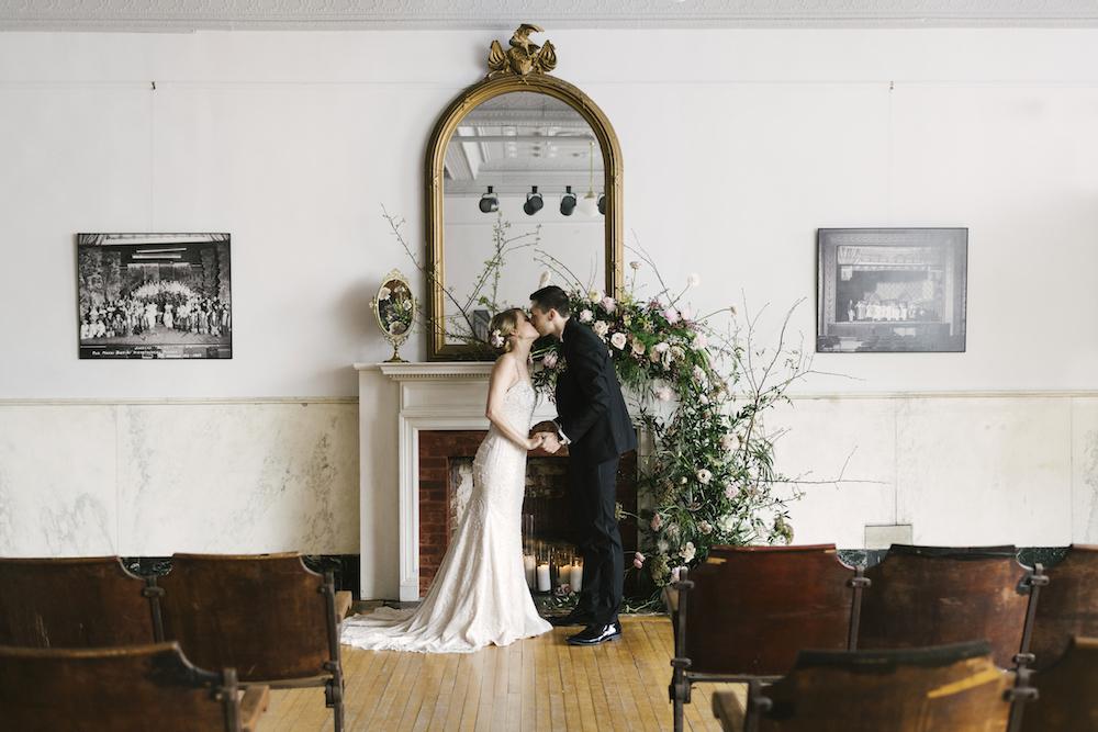 Romantic Wedding At The Historic Hudson Opera House, historic Hudson Opera House wedding