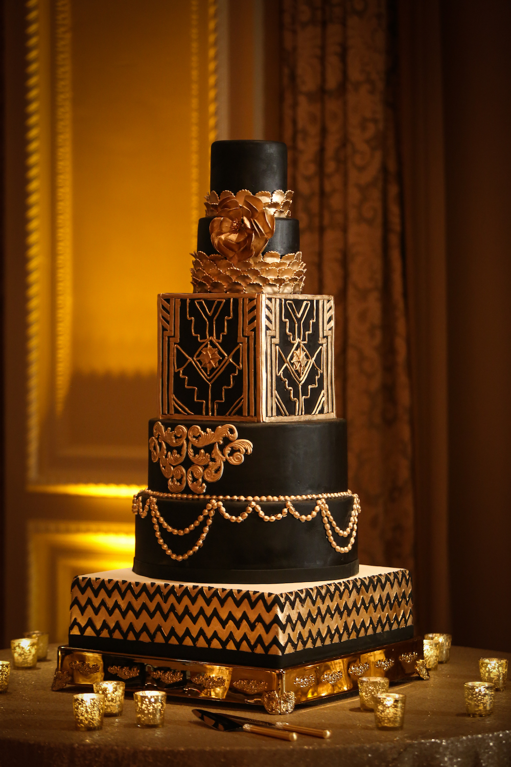 Moody Art Deco Wedding Inspiration, halloween wedding cake, black and gold wedding cake