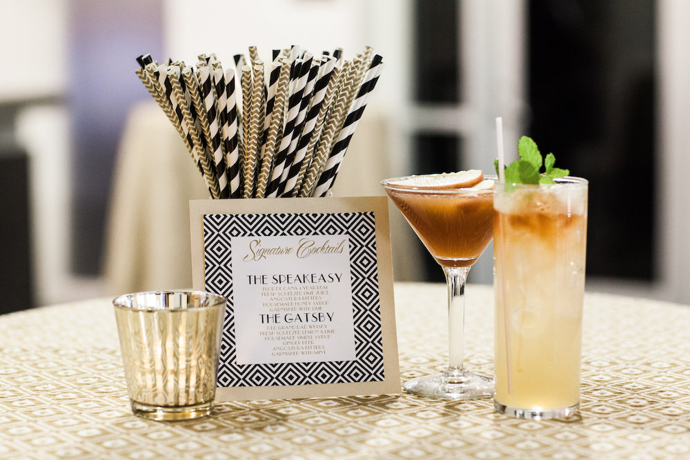 Moody Art Deco Wedding Inspiration, halloween wedding signature cocktail