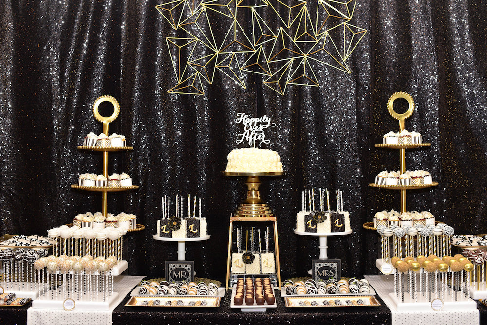 Moody Art Deco Wedding Inspiration, halloween wedding dessert bar
