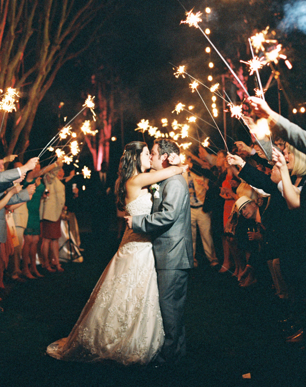 southern-wedding-sparkler-exit, 8 Really Good Reasons to Keep Your Wedding Guest List Small, small wedding guest list