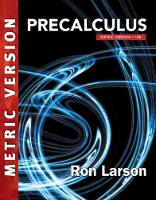 Cover for Precalculus, International Metric Edition by Charles Larson