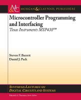 Cover for Microcontroller Programming and Interfacing TI MSP 430 PART I by Steven Barrett, Daniel Pack