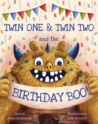 Cover for The Birthday BOO! for twins by Alison Reddihough