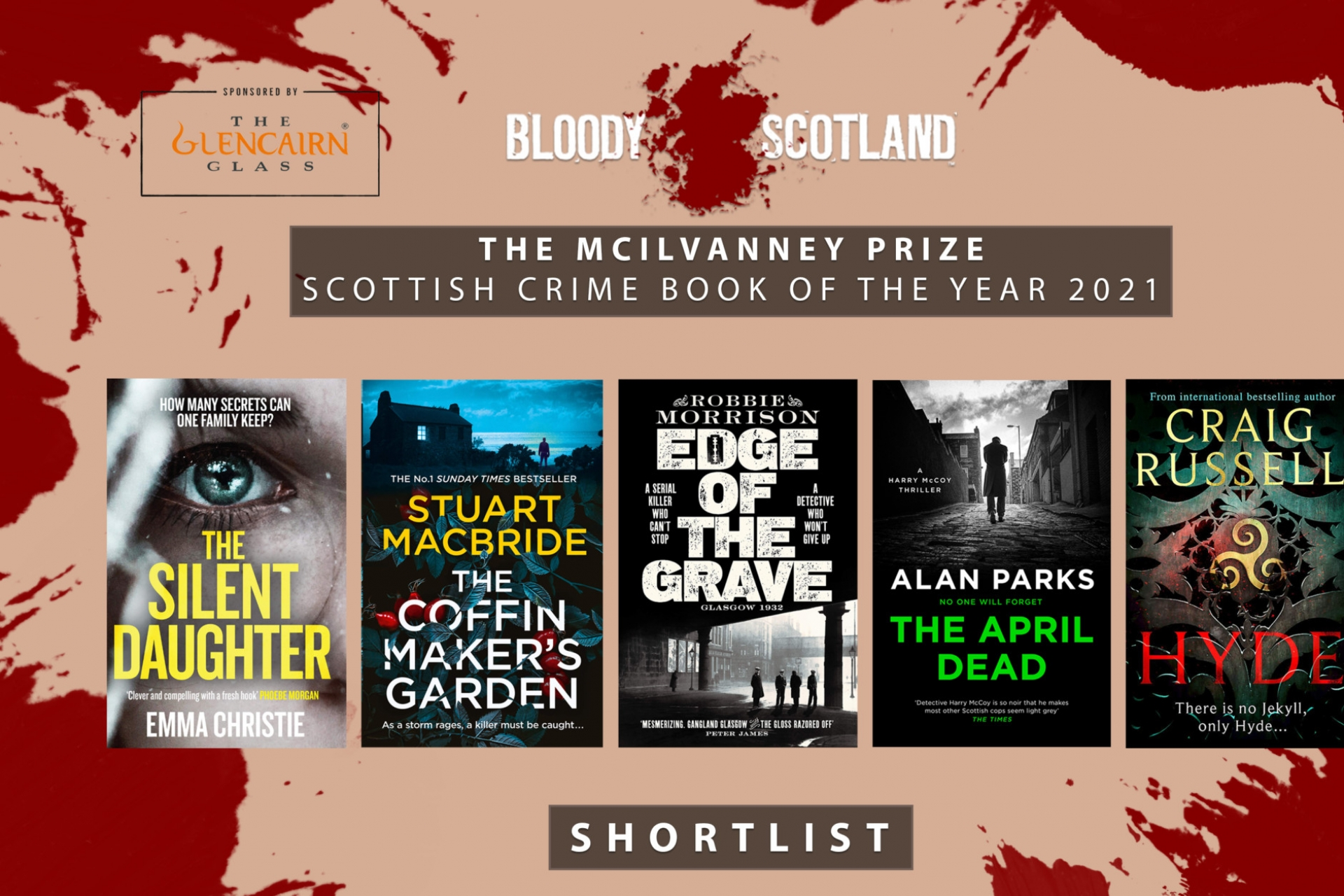 Shortlist for the McIlvanney Prize for Scottish Crime book of the year has been announced