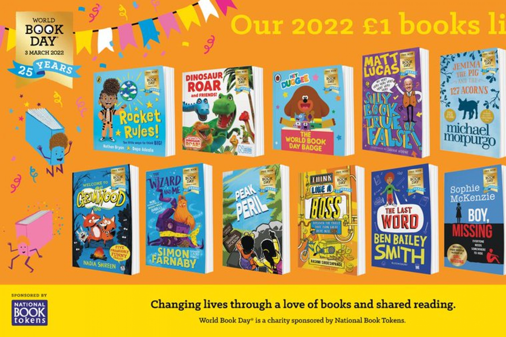 World Book Day announces 2022 £1 books for their 25th anniversary year