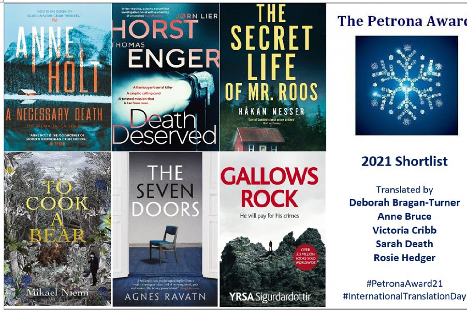 Outstanding crime fiction from Iceland, Norway and Sweden shortlisted for the 2021 Petrona Award