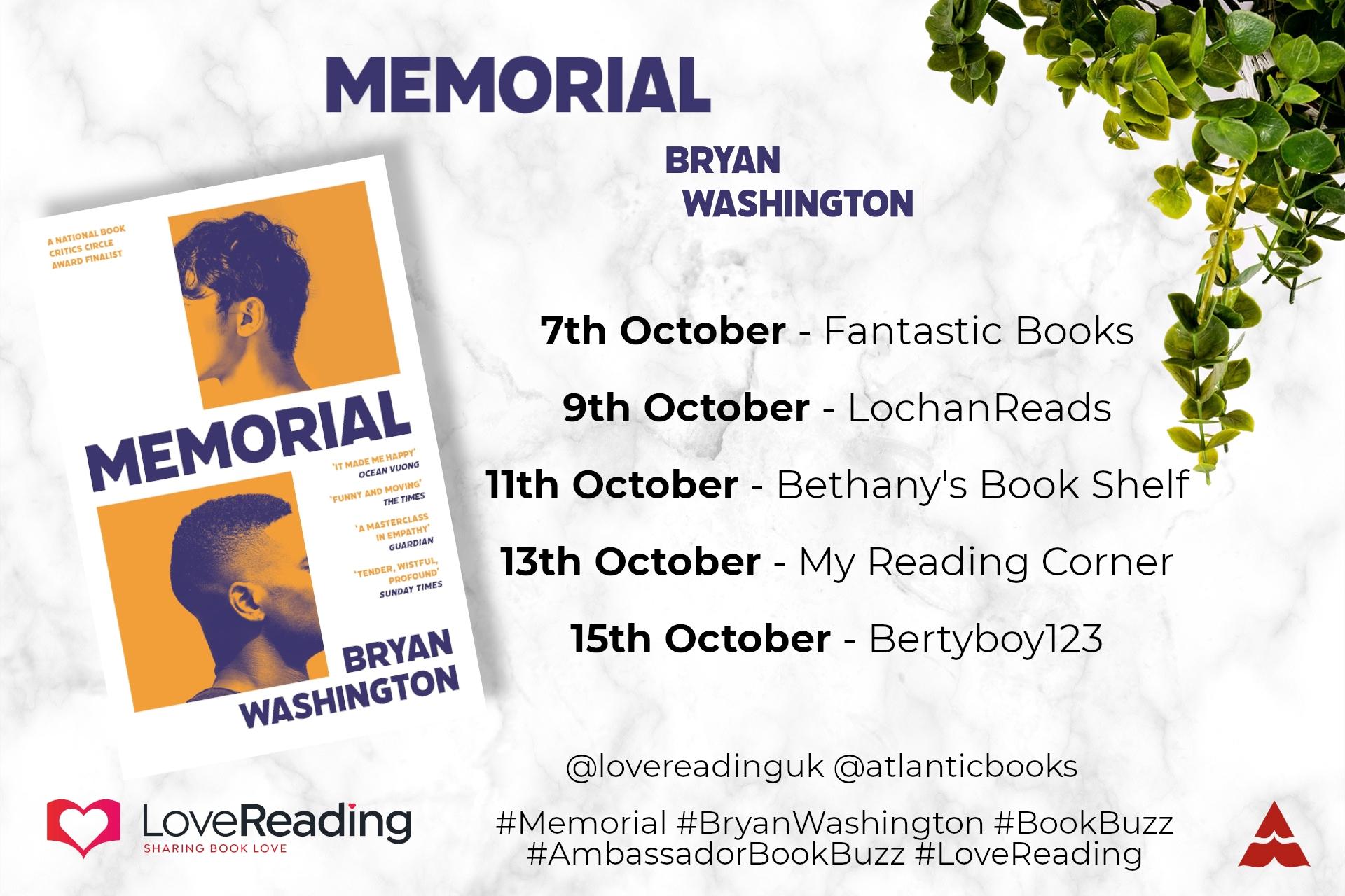 Ambassador Book Buzz: Memorial by Bryan Washington