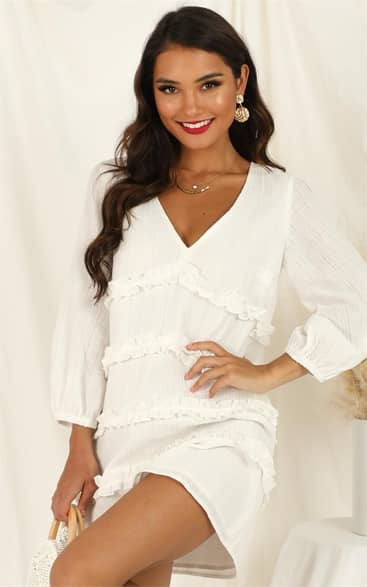 Showpo Sweetest Cheer Dress in white - 4 (XXS) Dresses