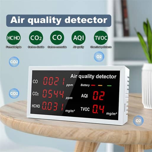 Multi-Function Digital CO CO2 HCHO TVOC Air Quality Detector High Precision Tester for Indoor/Outdoor