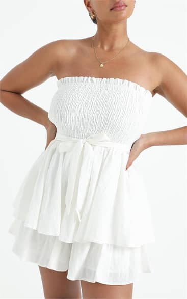 Showpo Mutual Love Playsuit in white - 18 (XXXL) Off The Shoulder