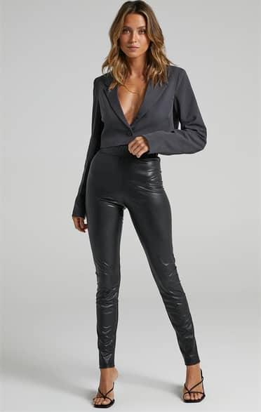 Showpo Sinead Pants in Black Leatherette - 12 Pants & Leggings