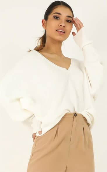 Showpo Winning At Life Knit Sweater in Cream - 12 Jumpers