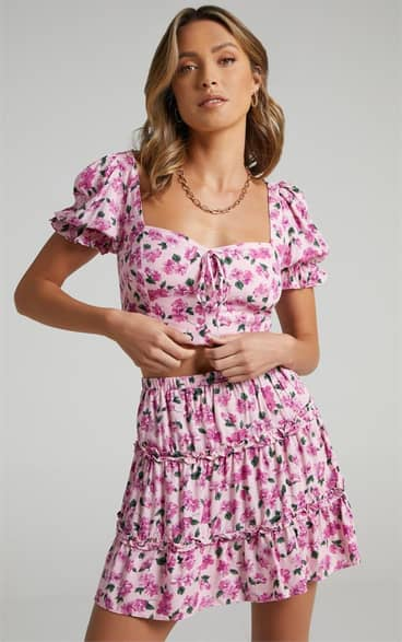 Showpo Aria Skirt in Lilac Floral - 08 Mini Skirts