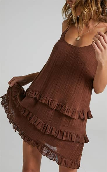 Showpo Long Reflections Dress in Chocolate - 14 Dresses