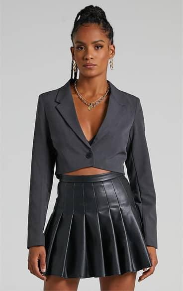 Showpo Edwina Skirt in Black Leatherette - 08 Mini Skirts